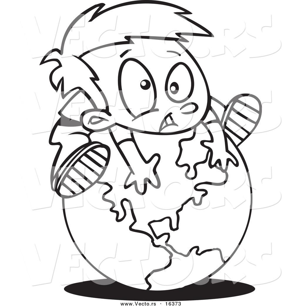 Vector Of A Cartoon Globe