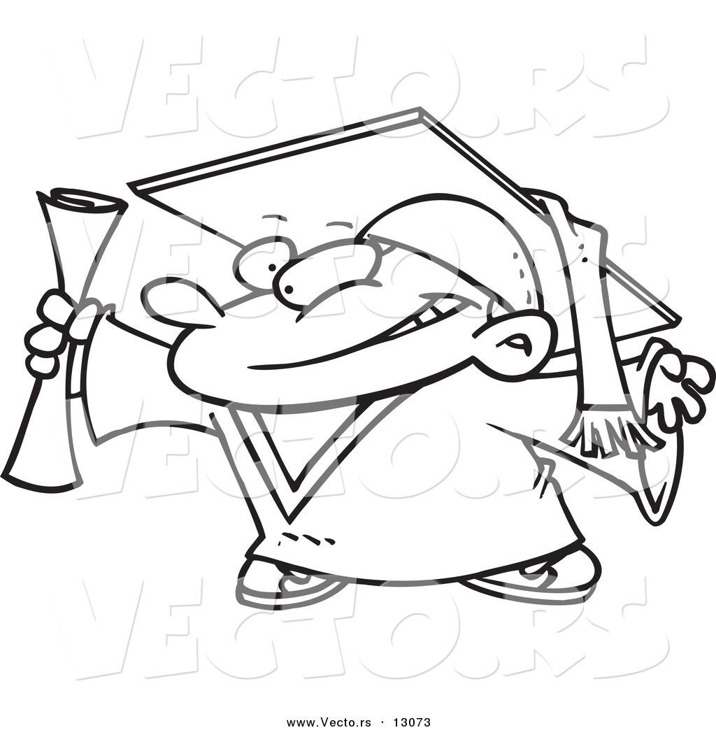 Vector of a Cartoon Graduate Boy Gripping Certificate