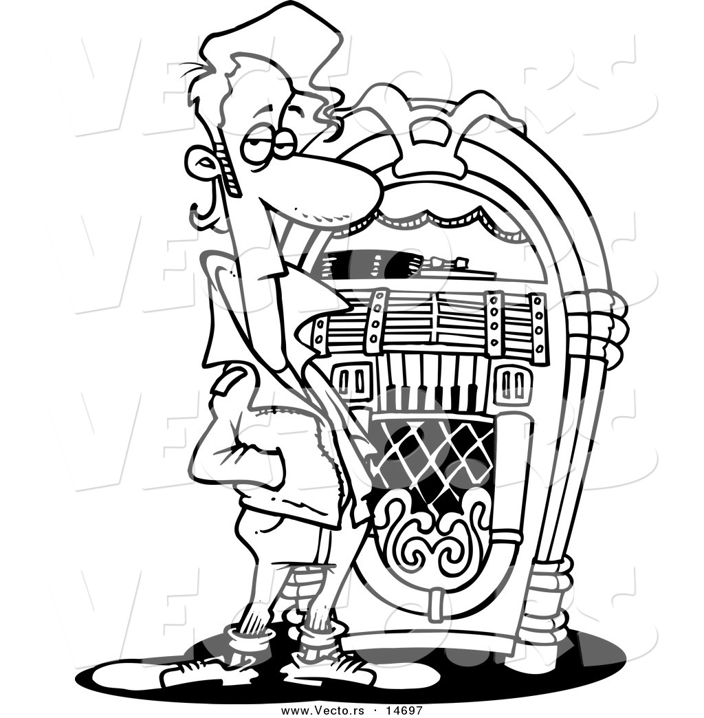 Vector Of A Cartoon Greaser By A Juke Box