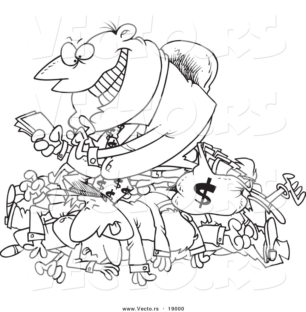 Vector of a Cartoon Greedy Manager Counting His Money and
