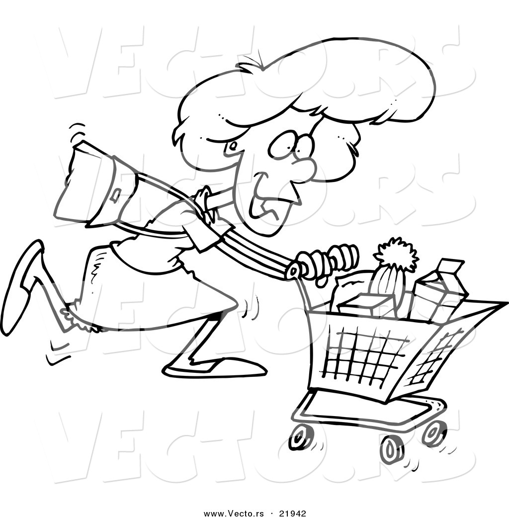Vector Of A Cartoon Grocery Shopping Woman