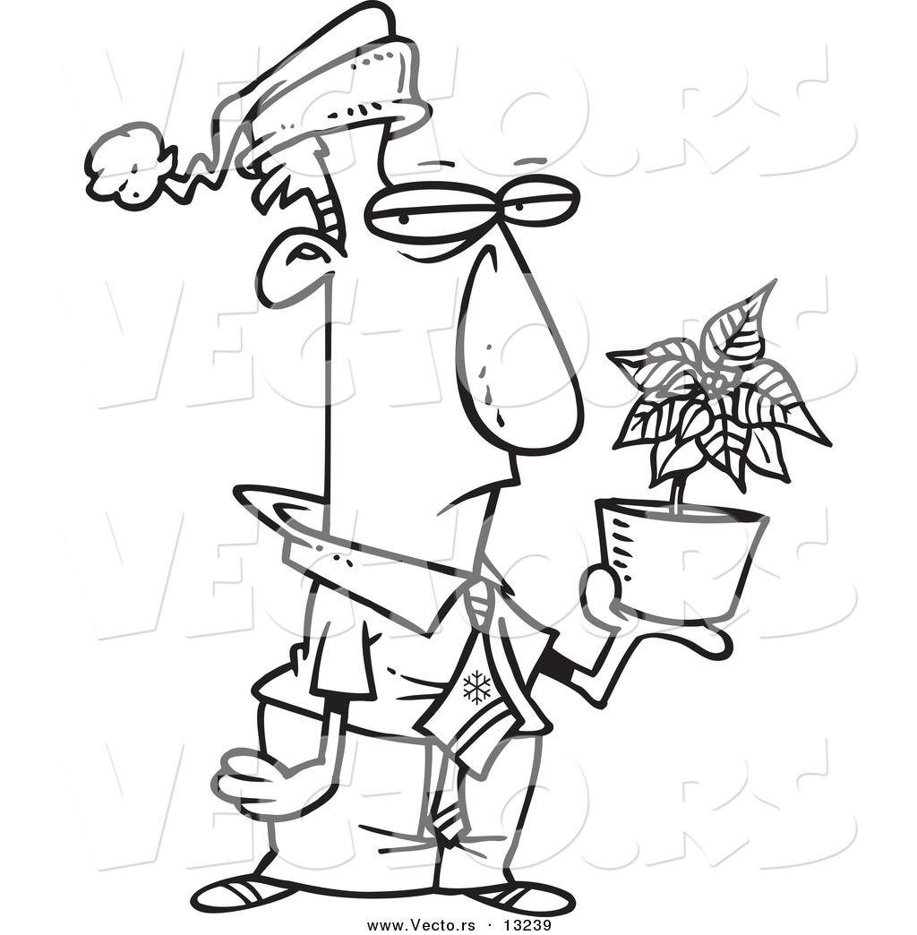 Vector Of A Cartoon Grumpy Employee Holding A Poinsettia Christmas