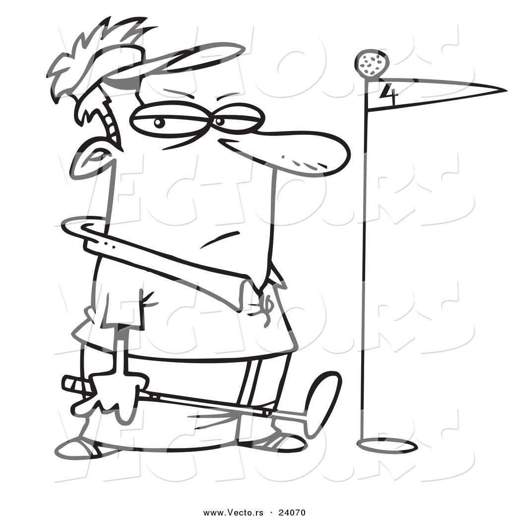 Vector of a Cartoon Grumpy Golfer with the Ball on Top of