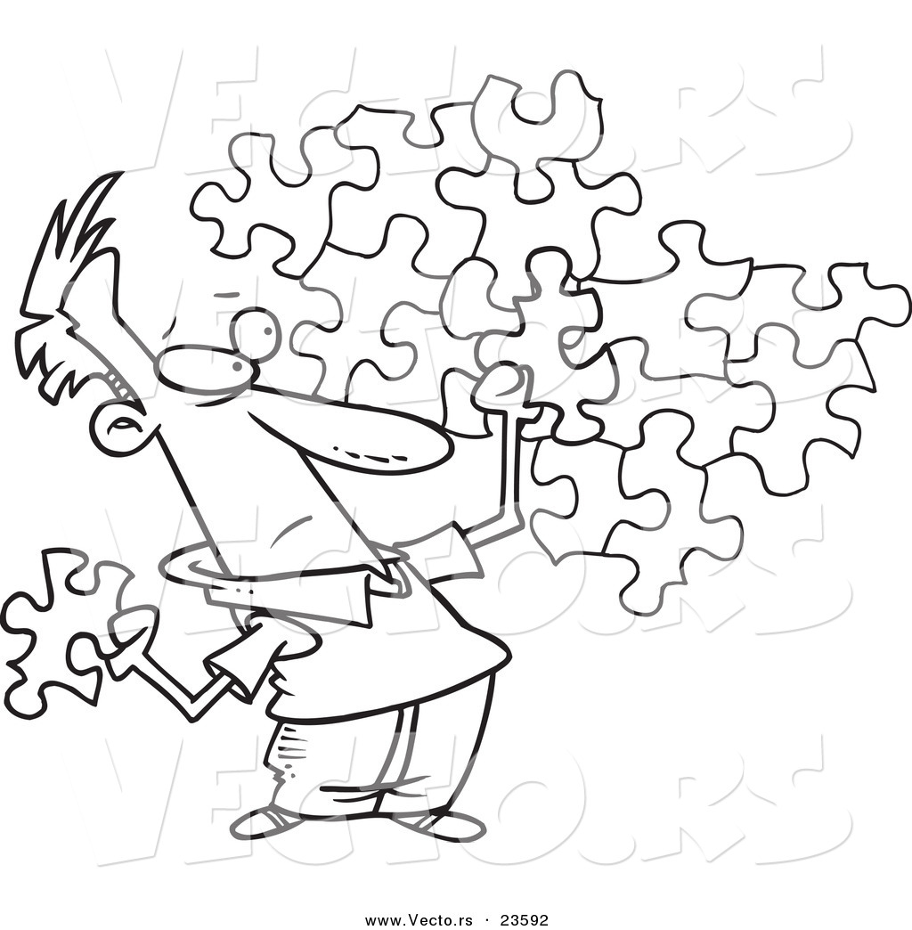 Vector of a Cartoon Guy Trying to Assemble a Puzzle