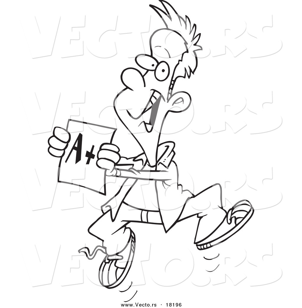 Vector of a Cartoon Happy Boy Holding a Good Report Card