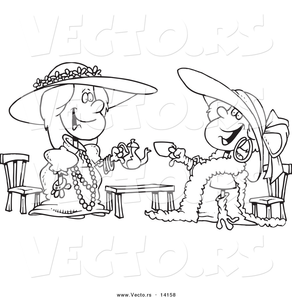 Vector of a Cartoon Happy Girls Playing Dress up at Tea