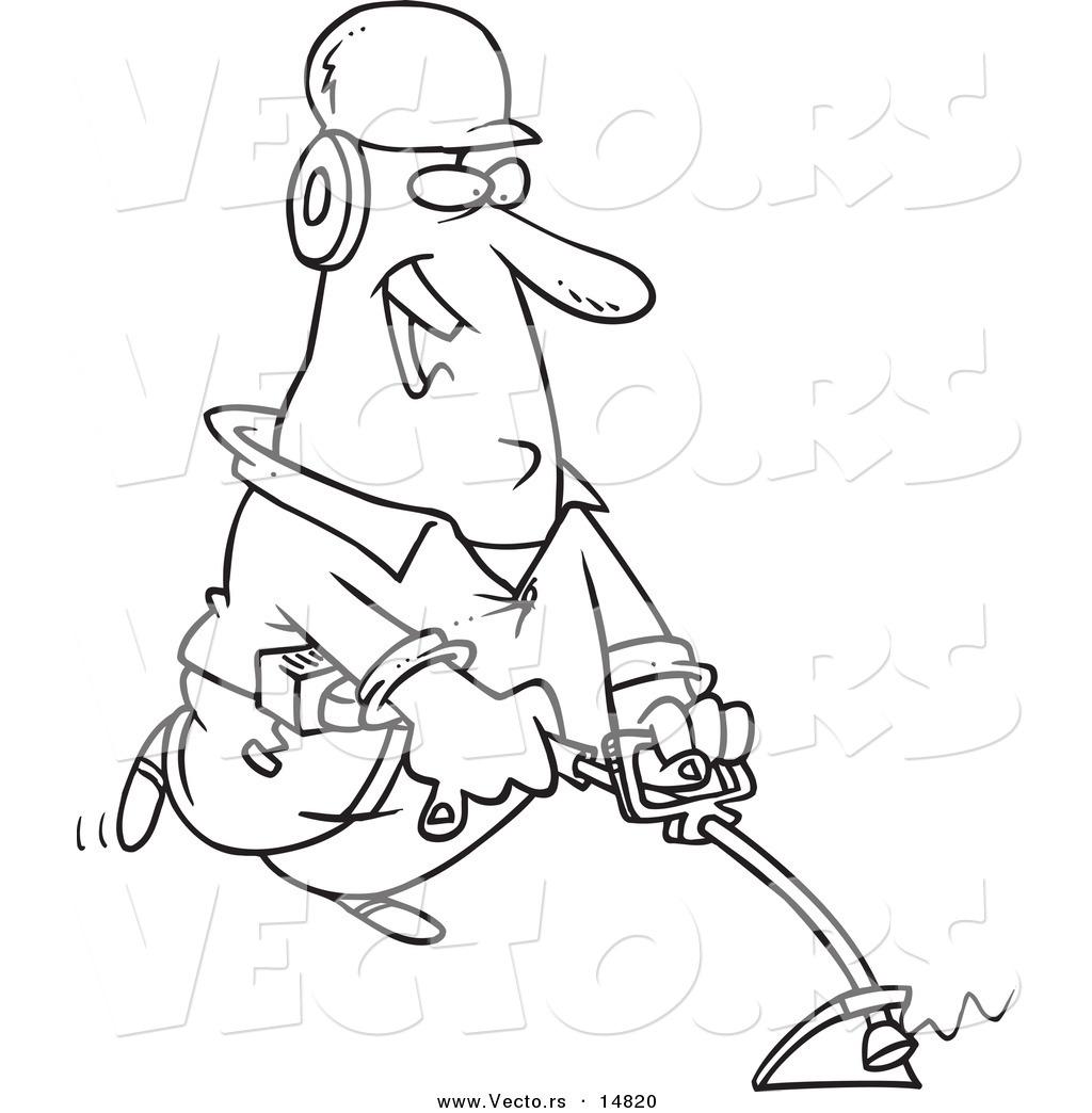Vector of a Cartoon Happy Landscaper Using a Weed Wacker