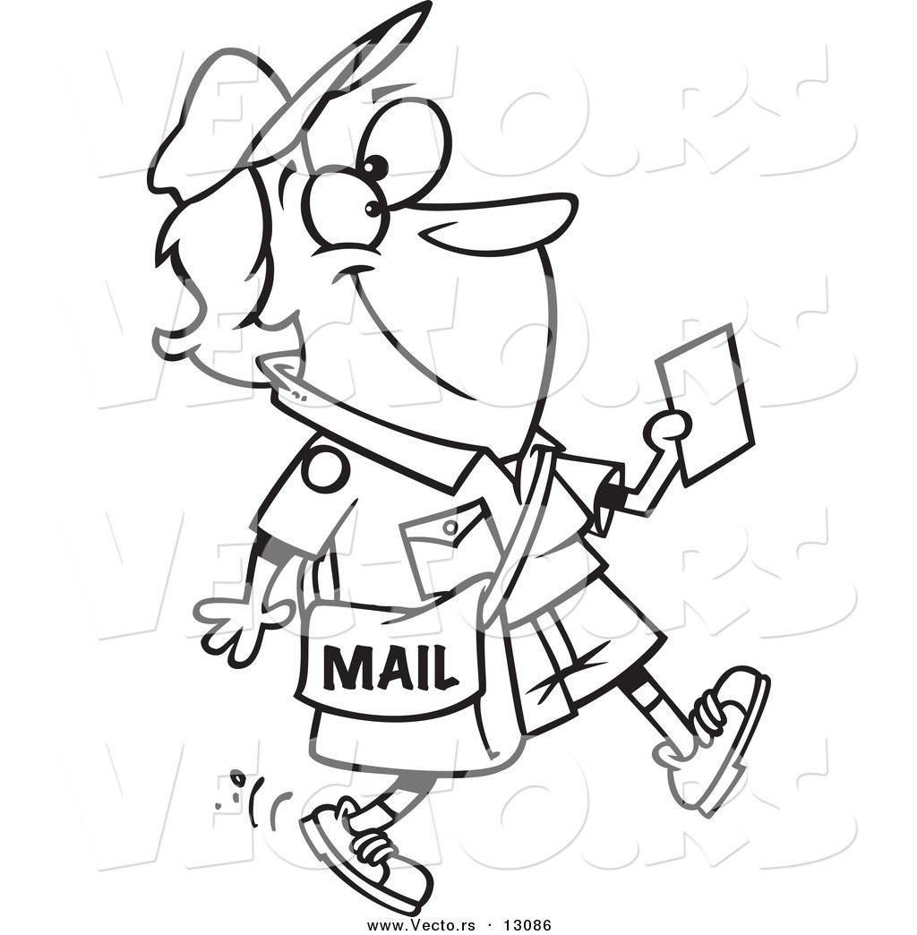Vector Of A Cartoon Happy Mail Woman Walking And Holding A