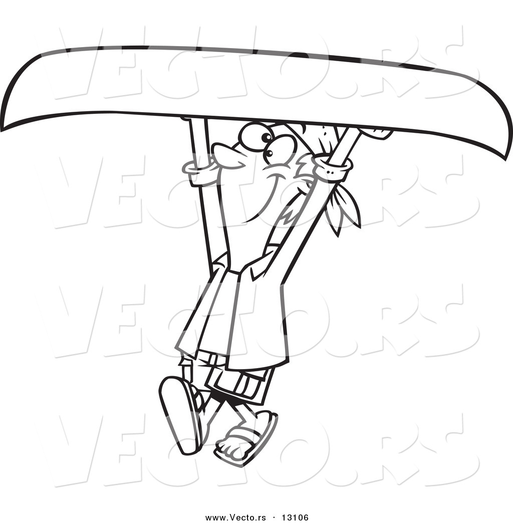 Vector of a Cartoon Happy Man Carrying a Canoe Above His