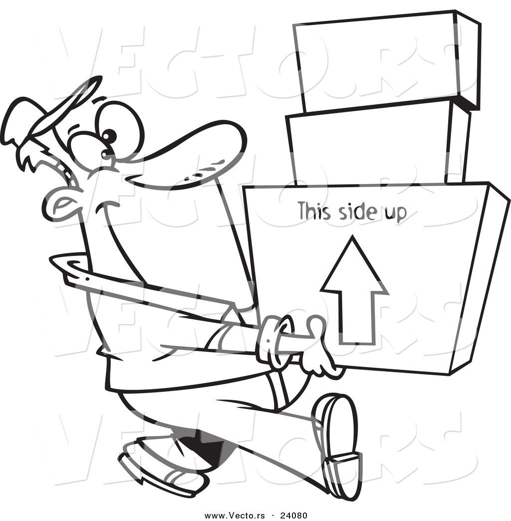 Vector of a Cartoon Happy Mover Man Carrying Boxes