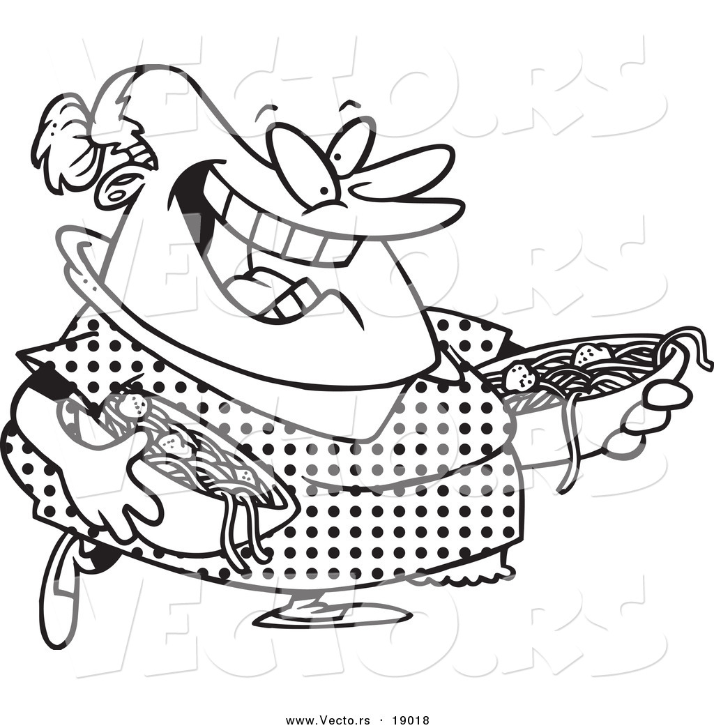 Vector of a Cartoon Happy Woman Serving Spaghetti and