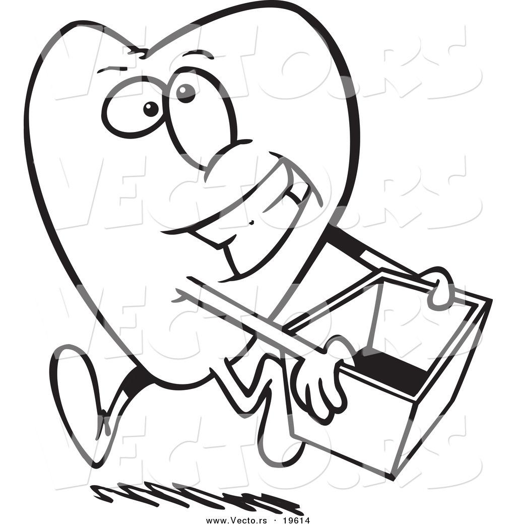 Vector of a Cartoon Heart Carrying a Donations Box
