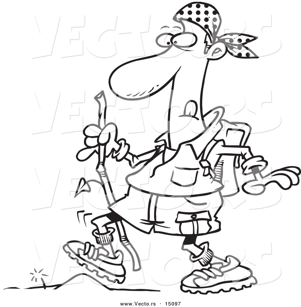 Vector of a Cartoon Hiker Walking over a Tiny Obstacle