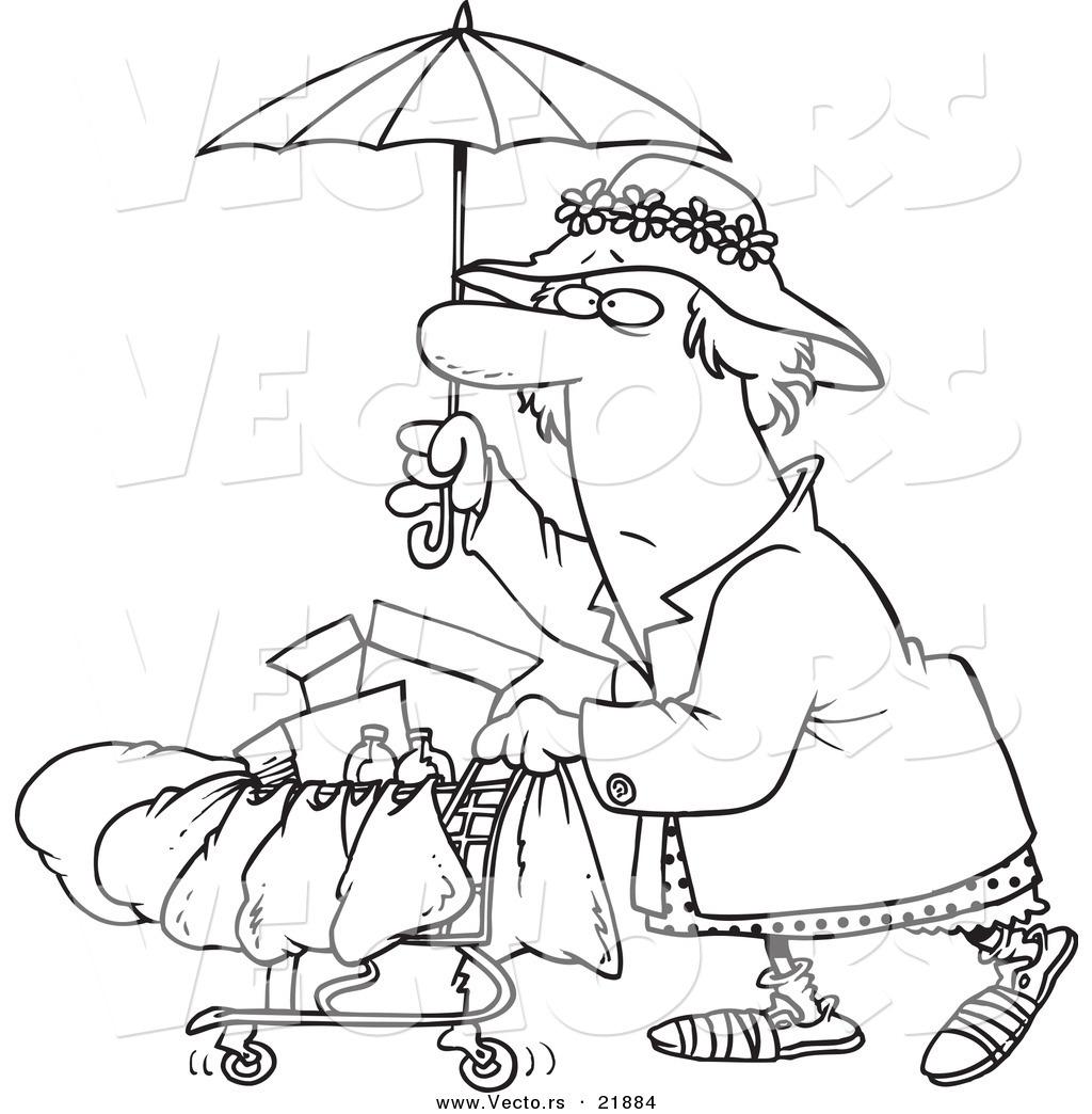 Vector Of A Cartoon Homeless Lady Pushing A Cart