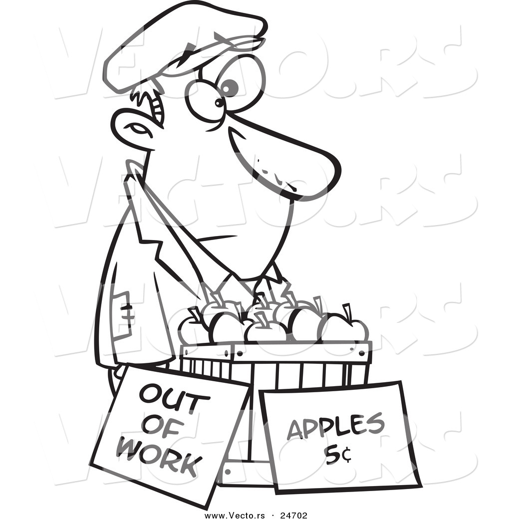 Vector of a Cartoon Homeless Man Trying to Sell Apples