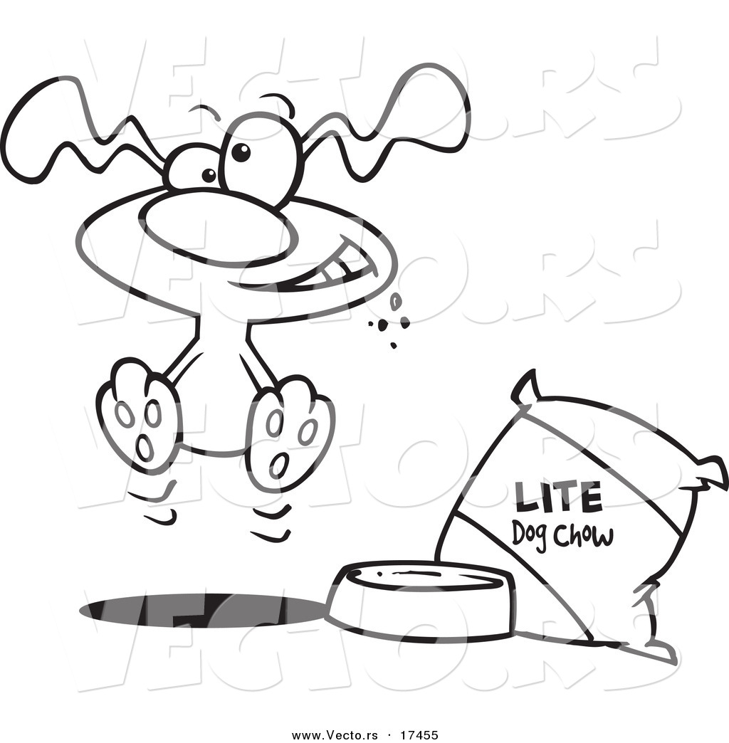 Vector of a Cartoon Hungry Dog by a Bag of Diet Food