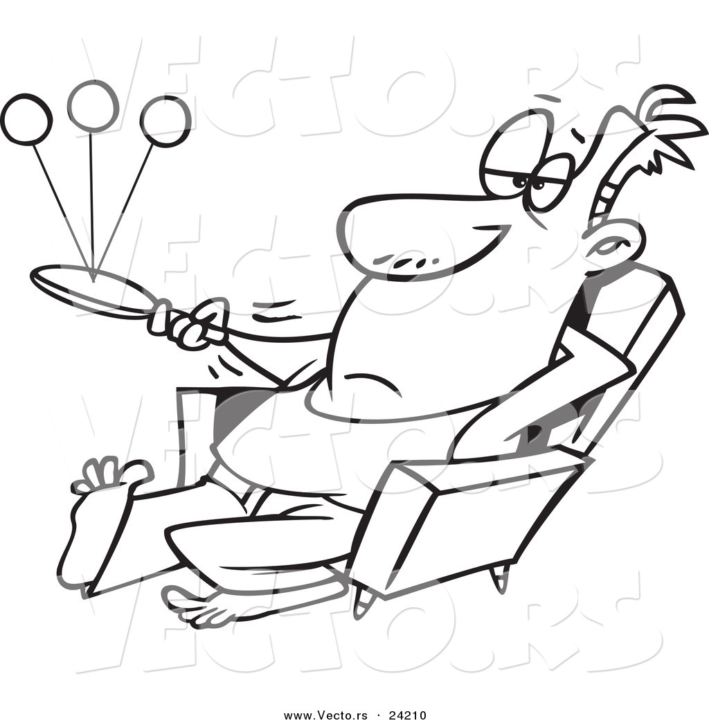 Vector of a Cartoon Lazy Man Playing Paddle Ball