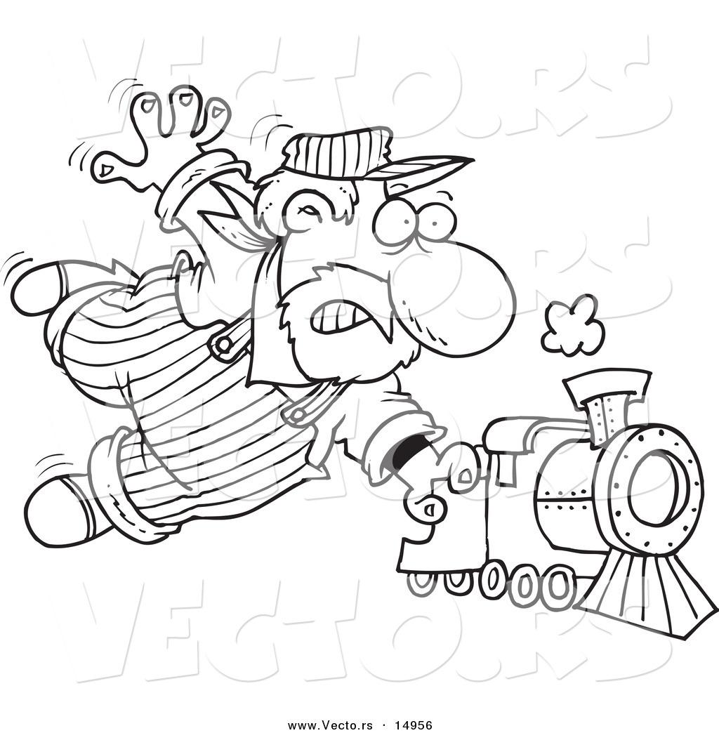 Vector of a Cartoon Locomotive Engineer Holding onto a