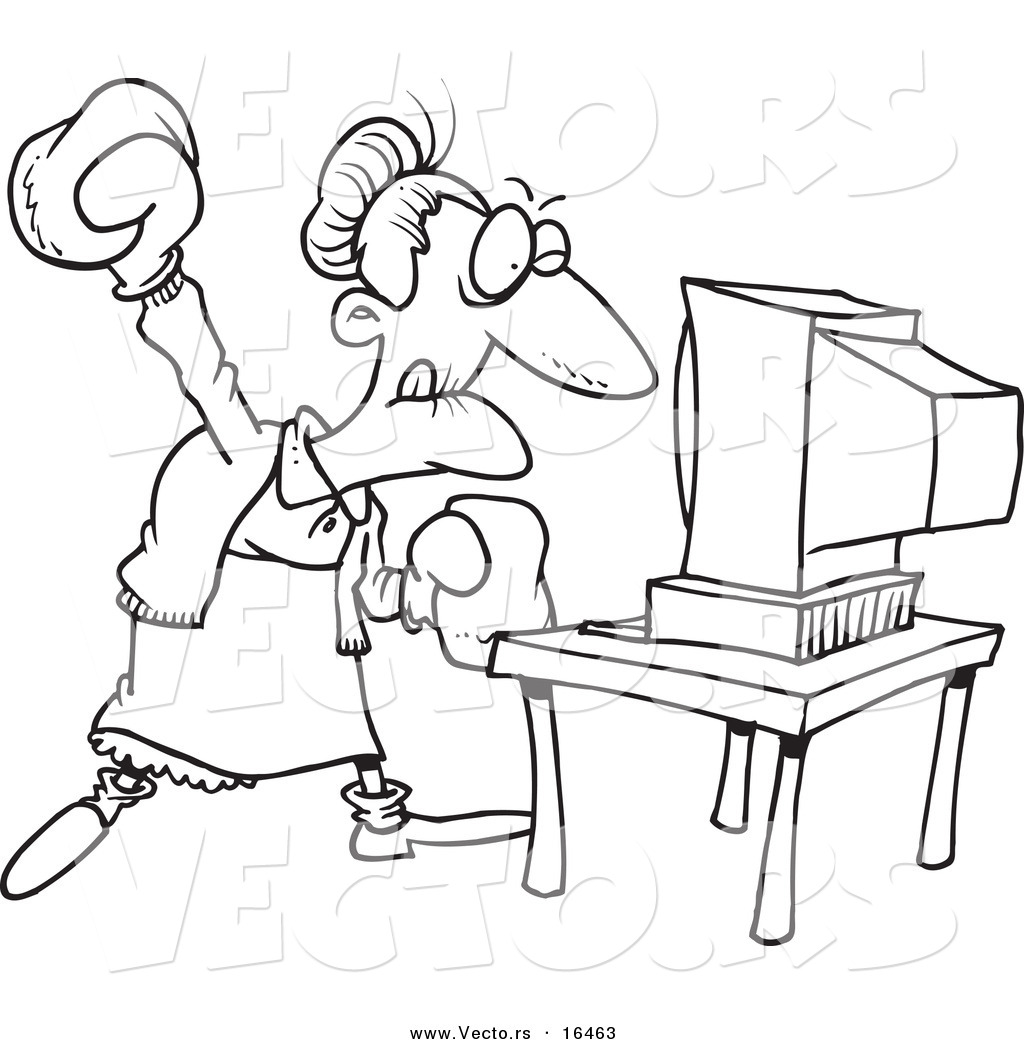 Vector Of A Cartoon Mad Granny Beating A Computer With