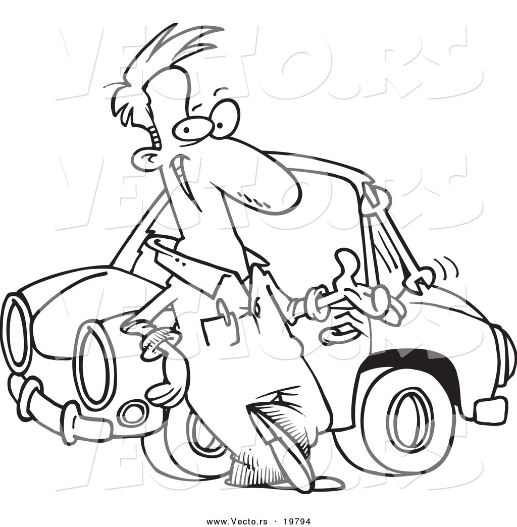 Vector of a Cartoon Male Auto Mechanic Tossing a Wrench