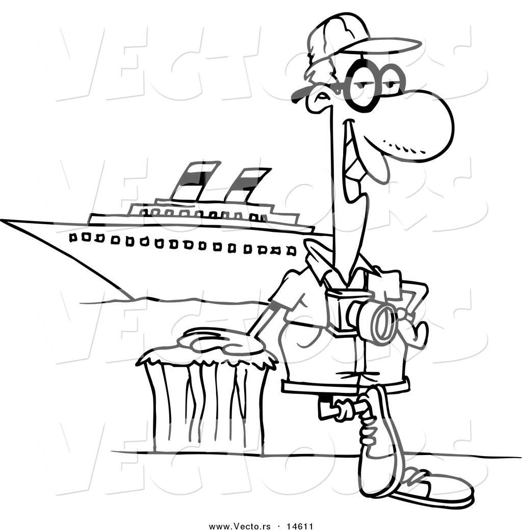 Vector of a Cartoon Male Cruise Tourist Posing by the Boat