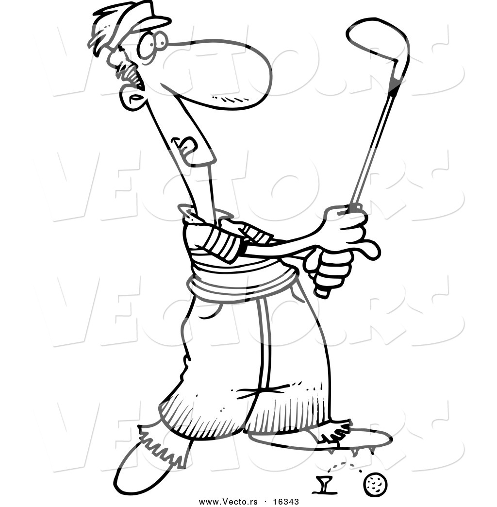Vector Of A Cartoon Male Golfer Barely Knocking The Ball Off The Tee