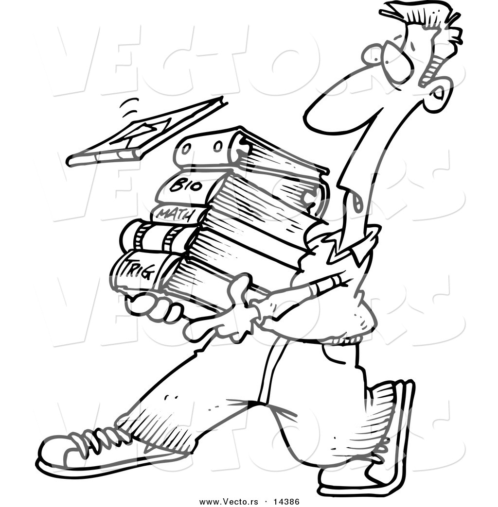 Vector of a Cartoon Male Student Carrying Text Books
