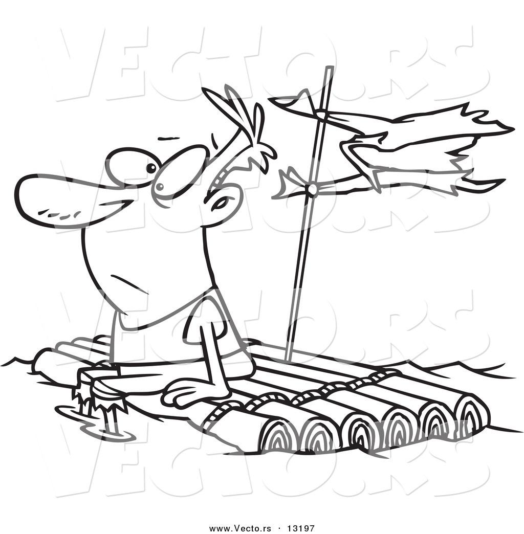 Vector Of A Cartoon Man Adrift On A Log Raft