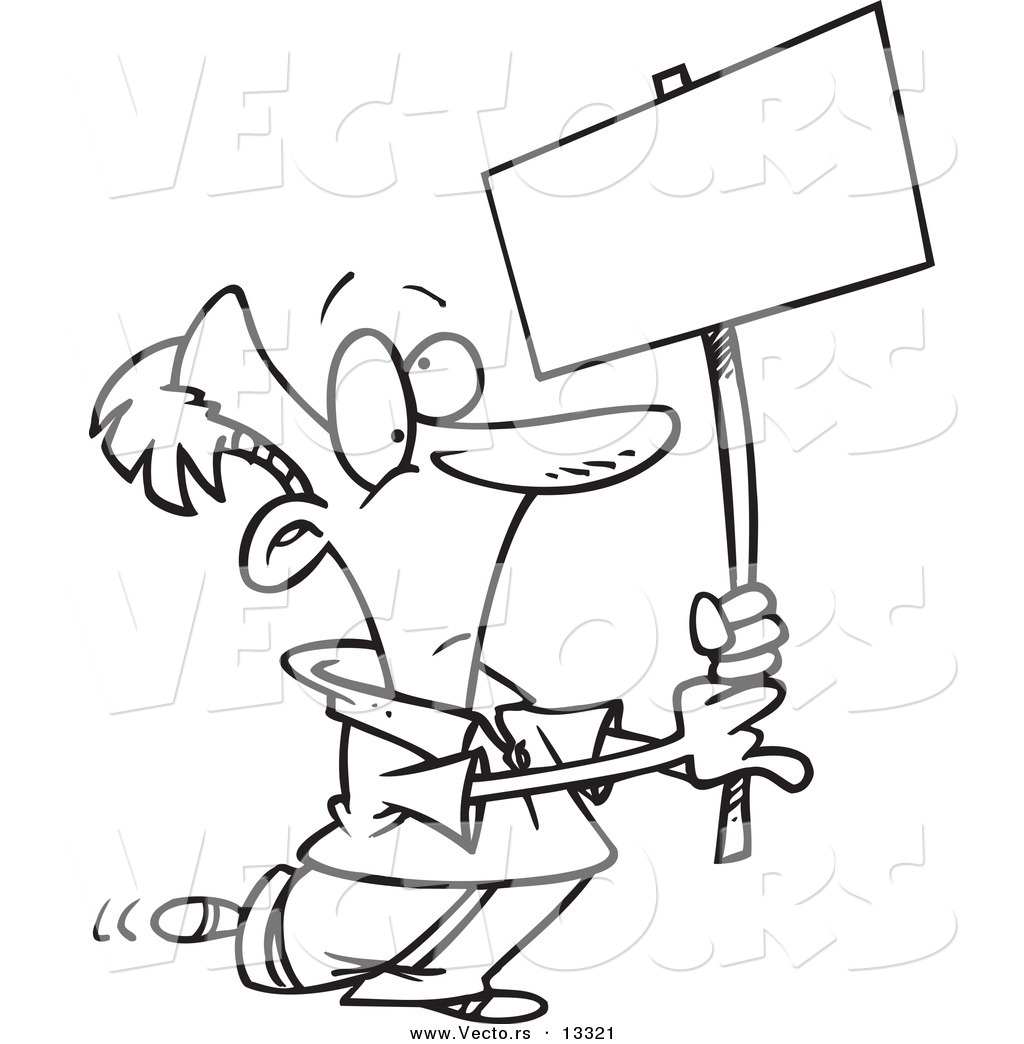 Vector of a Cartoon Man Advertising with a Blank Sign