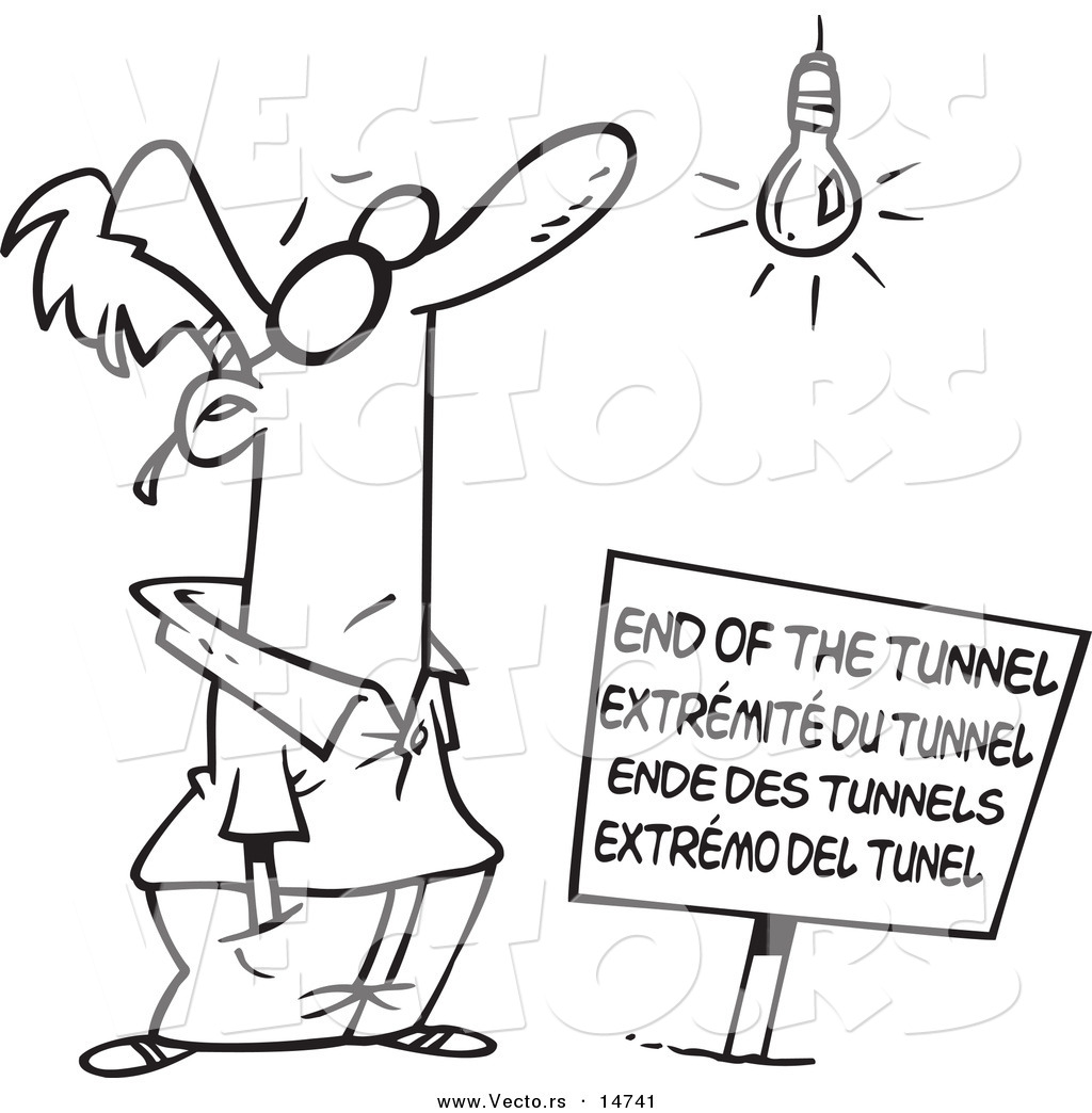 Vector of a Cartoon Man at an End of the Tunnel Sign