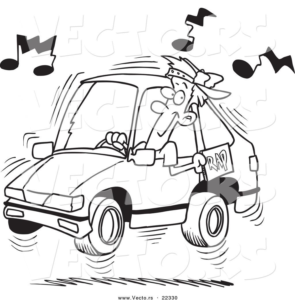 Vector of a Cartoon Man Blaring Rap Music in His Car