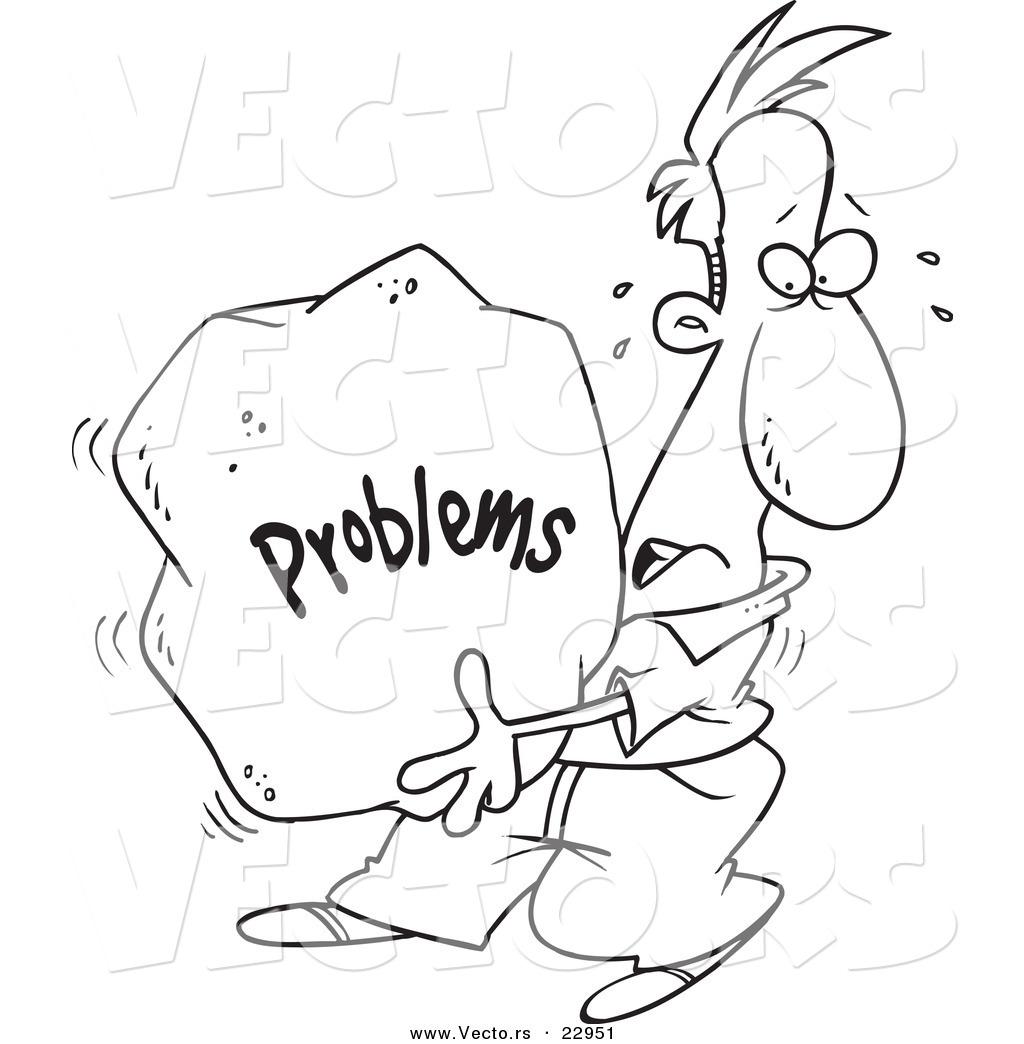 Vector of a Cartoon Man Carrying a Heavy Problem Rock