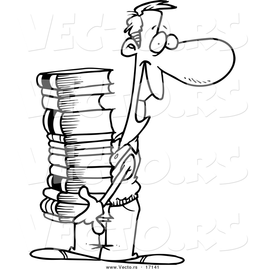 Vector Of A Cartoon Man Carrying A Stack Of Books