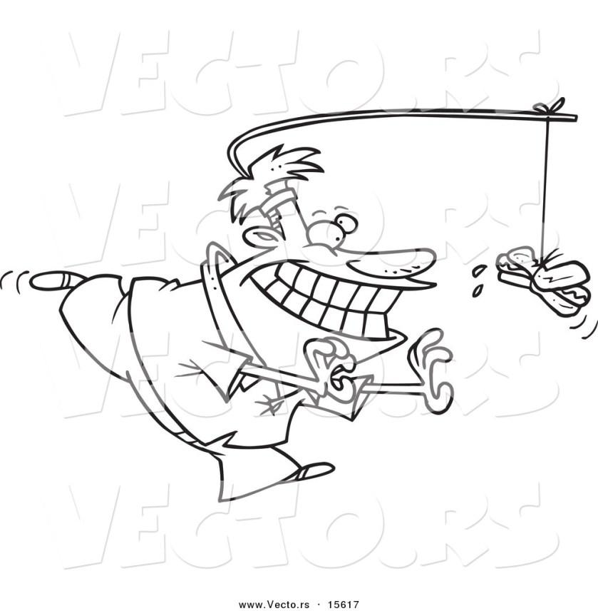 vector of a cartoon man chasing a hot dog as incentive