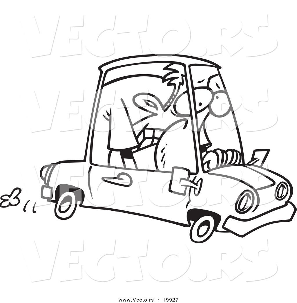 Vector Of A Cartoon Man Cramped Into His Mini Car