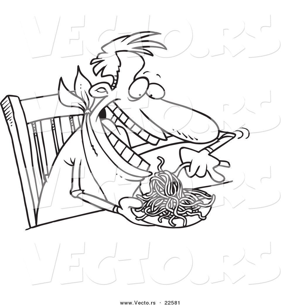 Vector of a Cartoon Man Eating Spaghetti at a Table