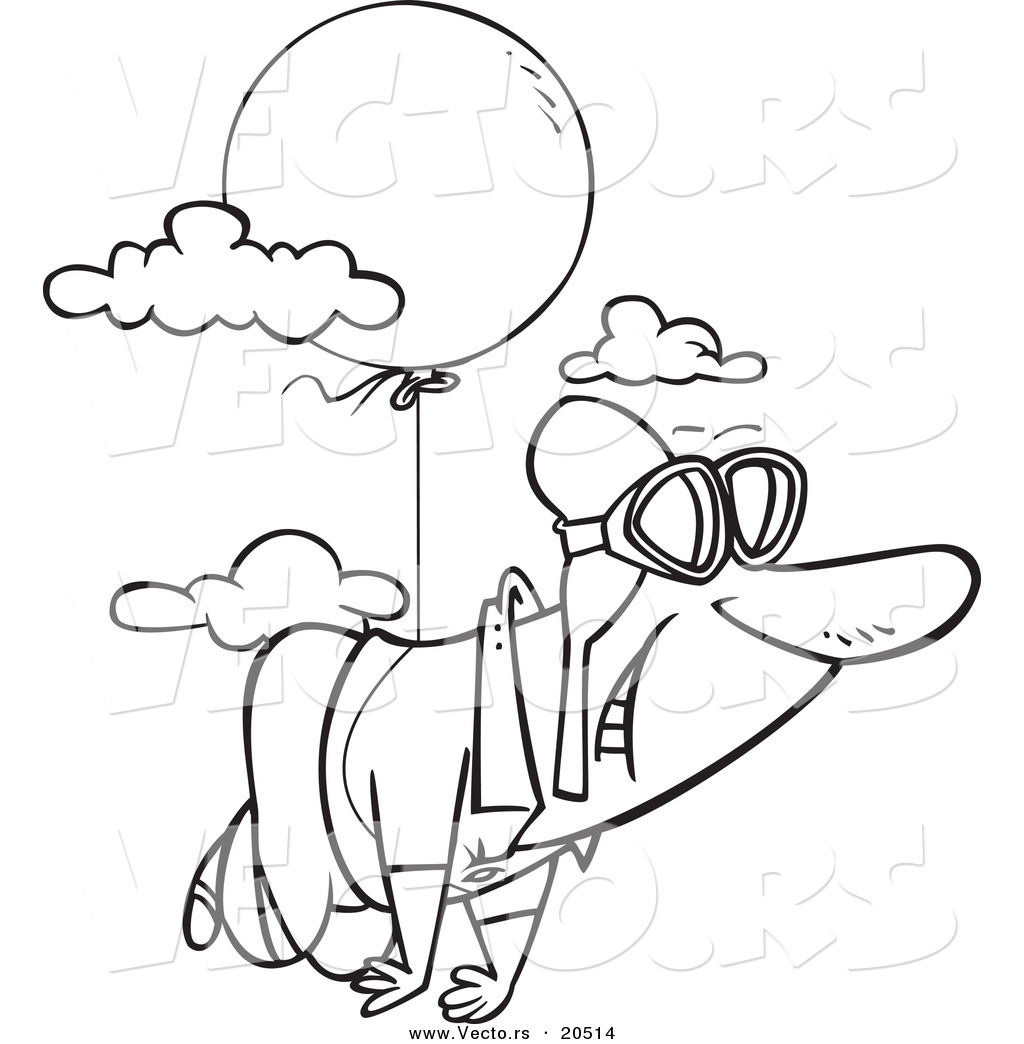 Vector Of A Cartoon Man Floating Through The Sky With A