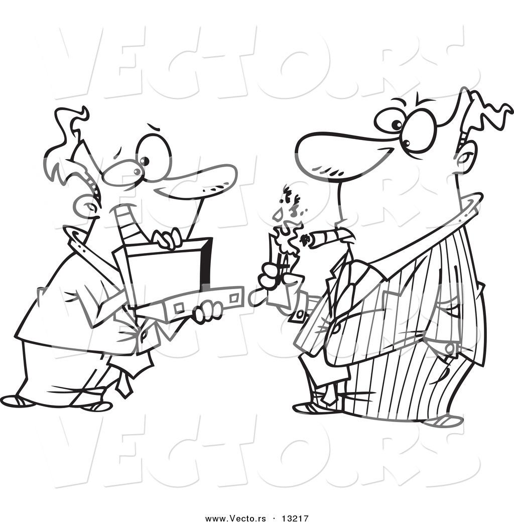Vector of a Cartoon Man Holding a Briefcase Open for His