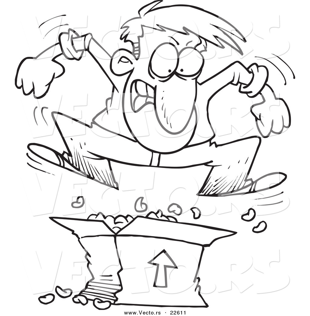 Vector of a Cartoon Man Jumping on Packing Peanuts in a