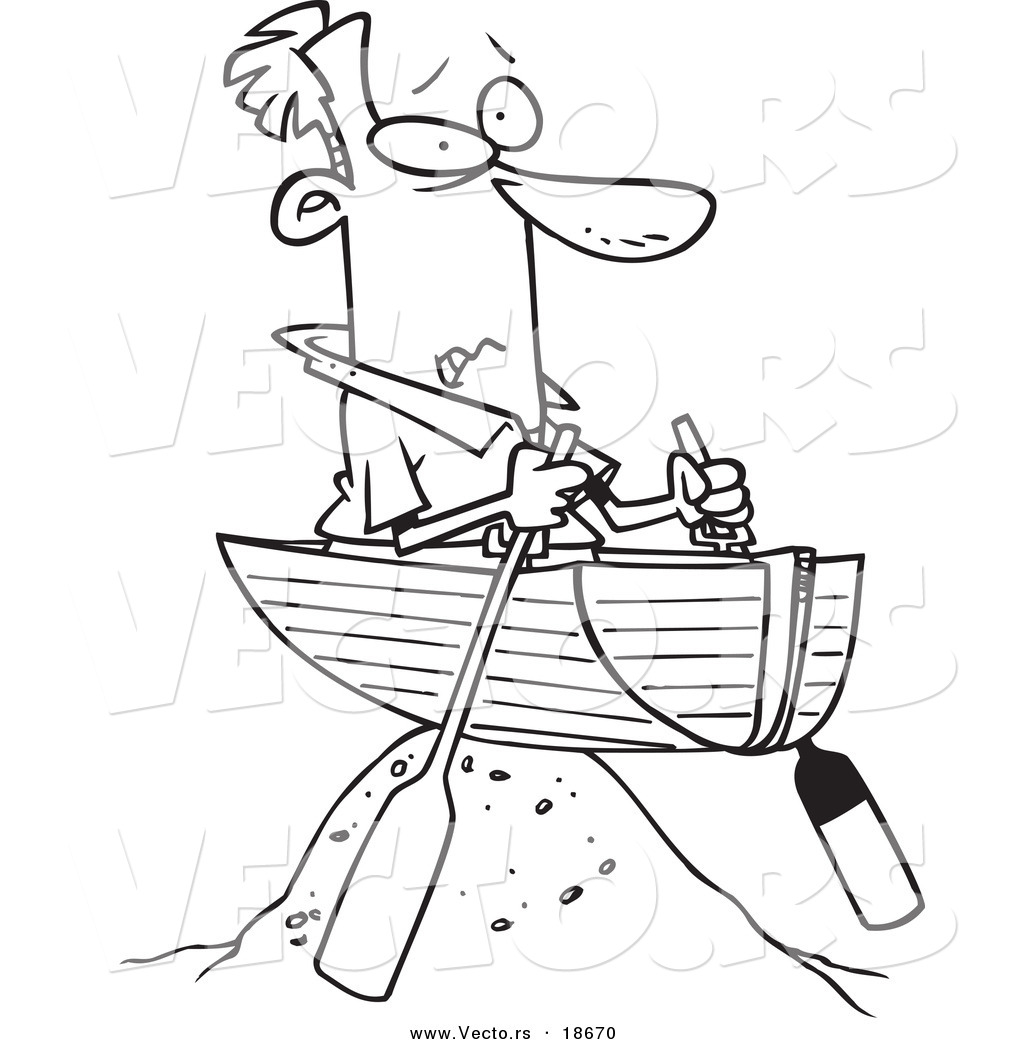 Vector of a Cartoon Man Left High and Dry in a Boat