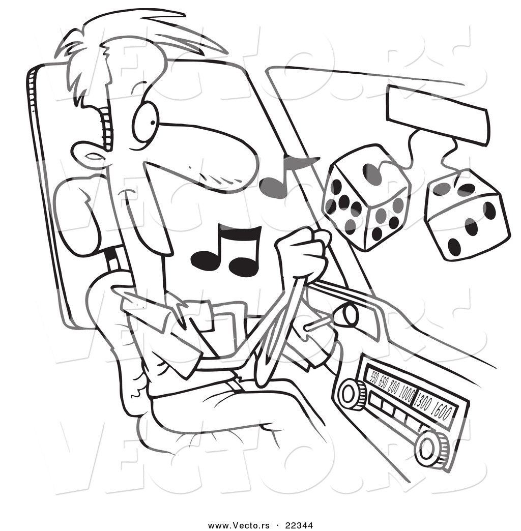 Vector of a Cartoon Man Listing to Tunes in His Car