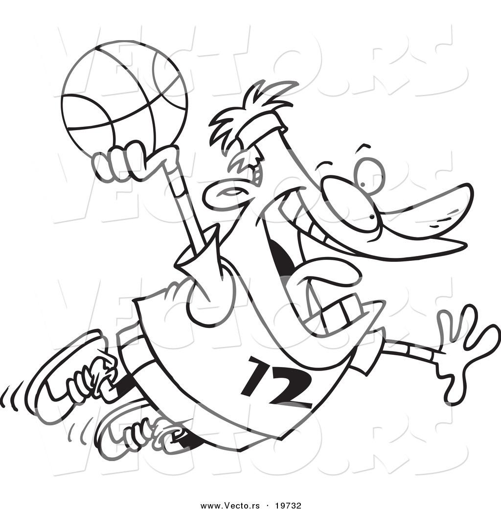 Black And White Cartoon Basketball