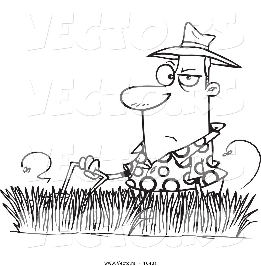 Vector Of A Cartoon Man Mowing Tall Grass