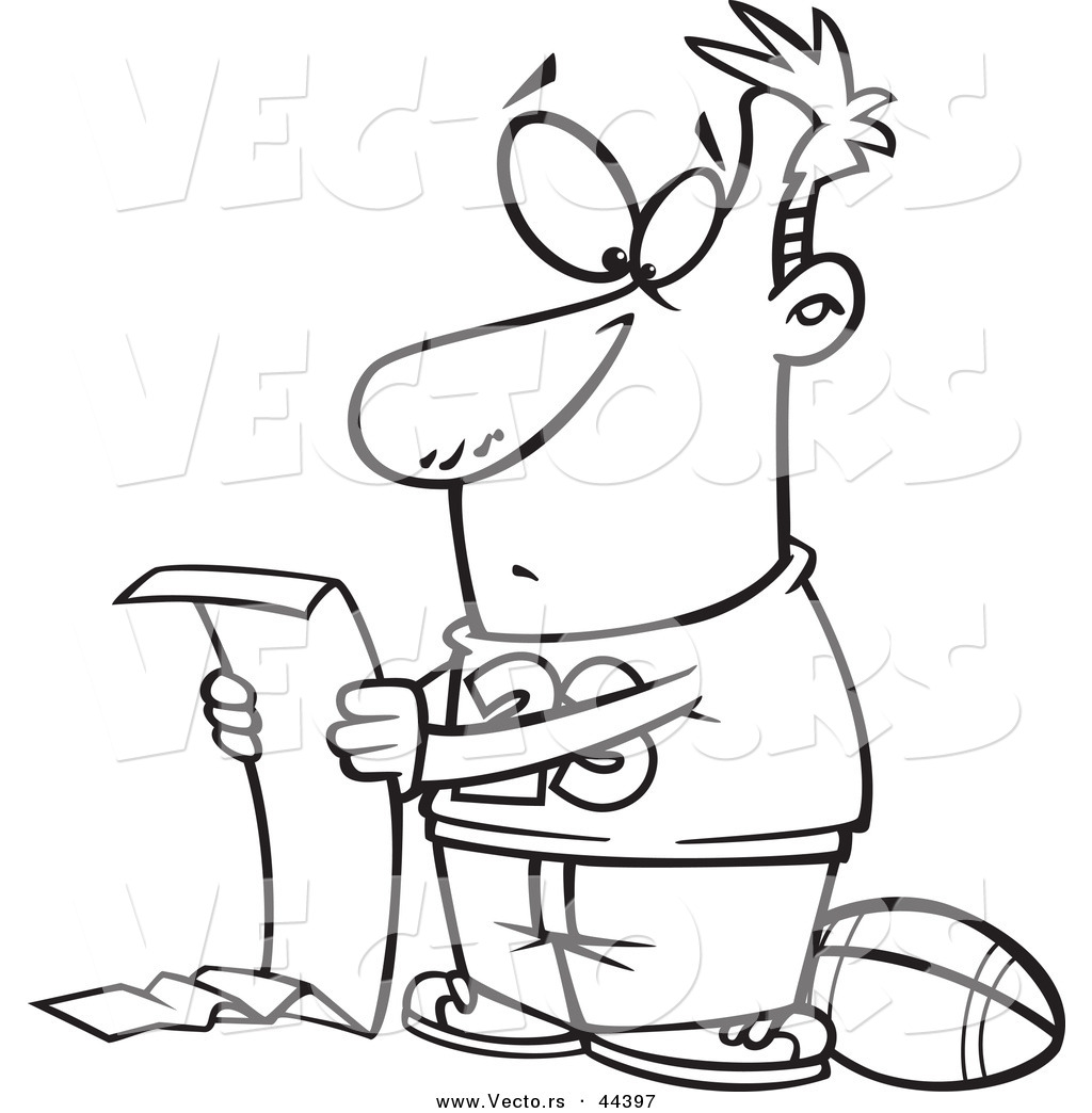 Vector of a Cartoon Man Reading a Long to Do List but