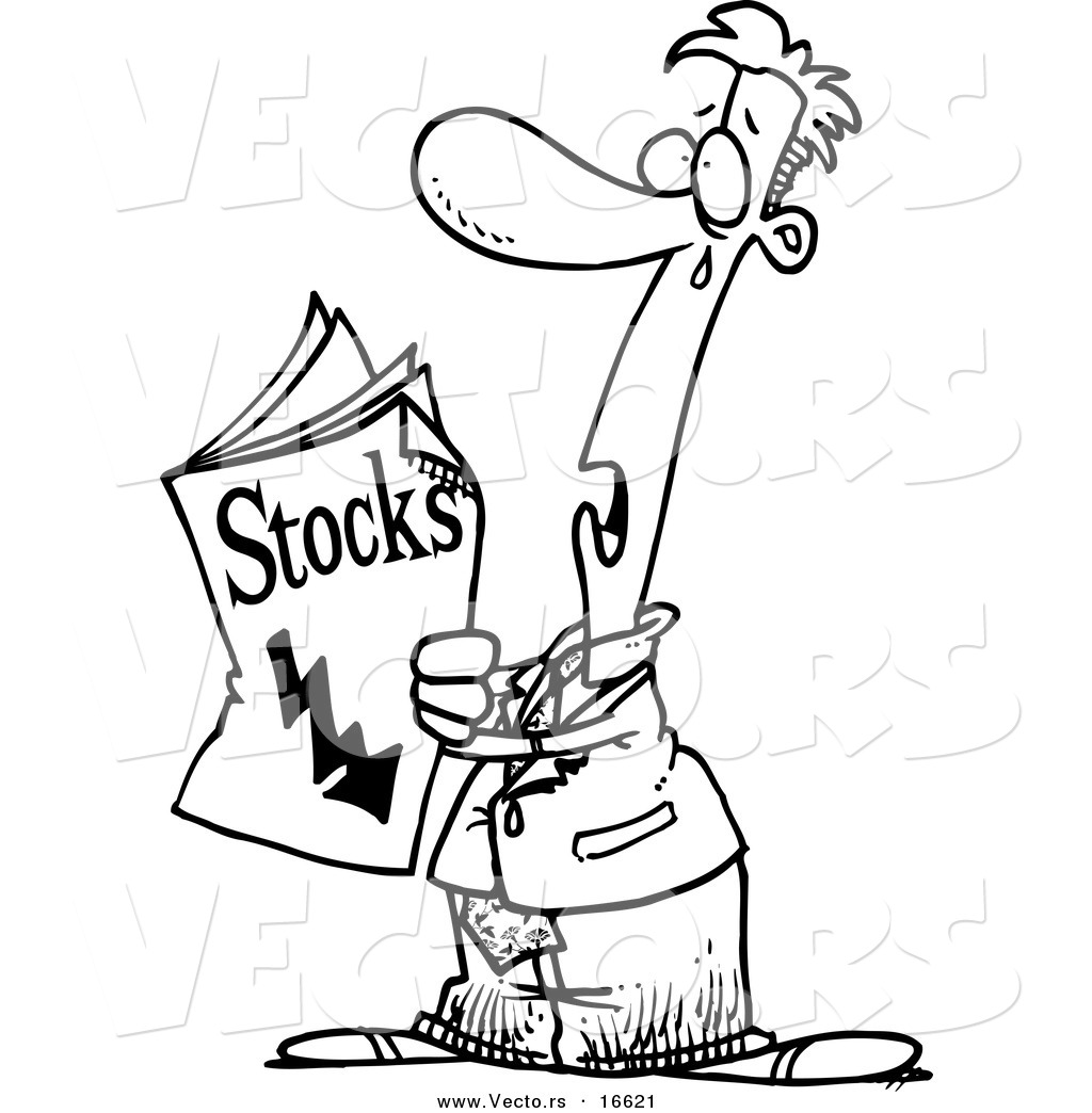 Vector of a Cartoon Man Reading Bad News in the Stocks