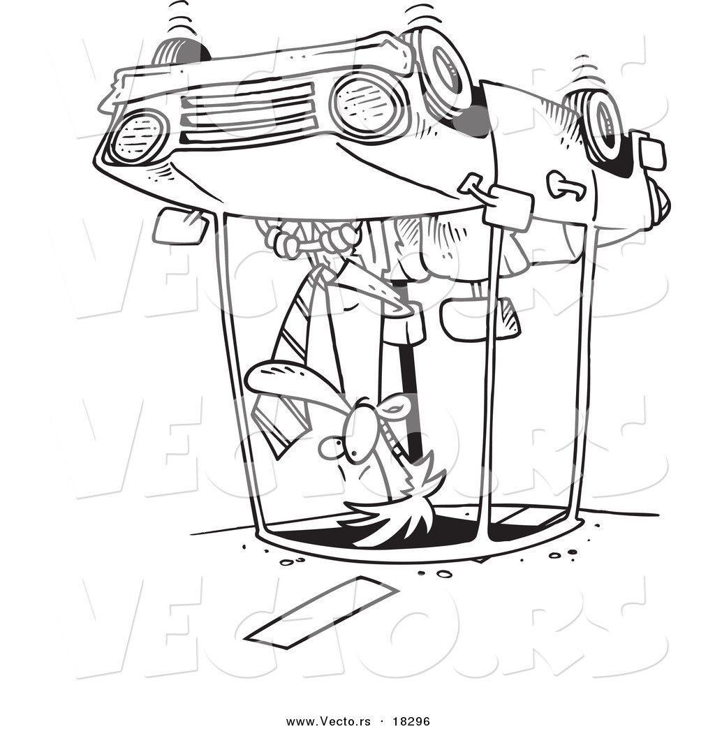 Vector Of A Cartoon Man Rolling His Car Outlined Coloring Page