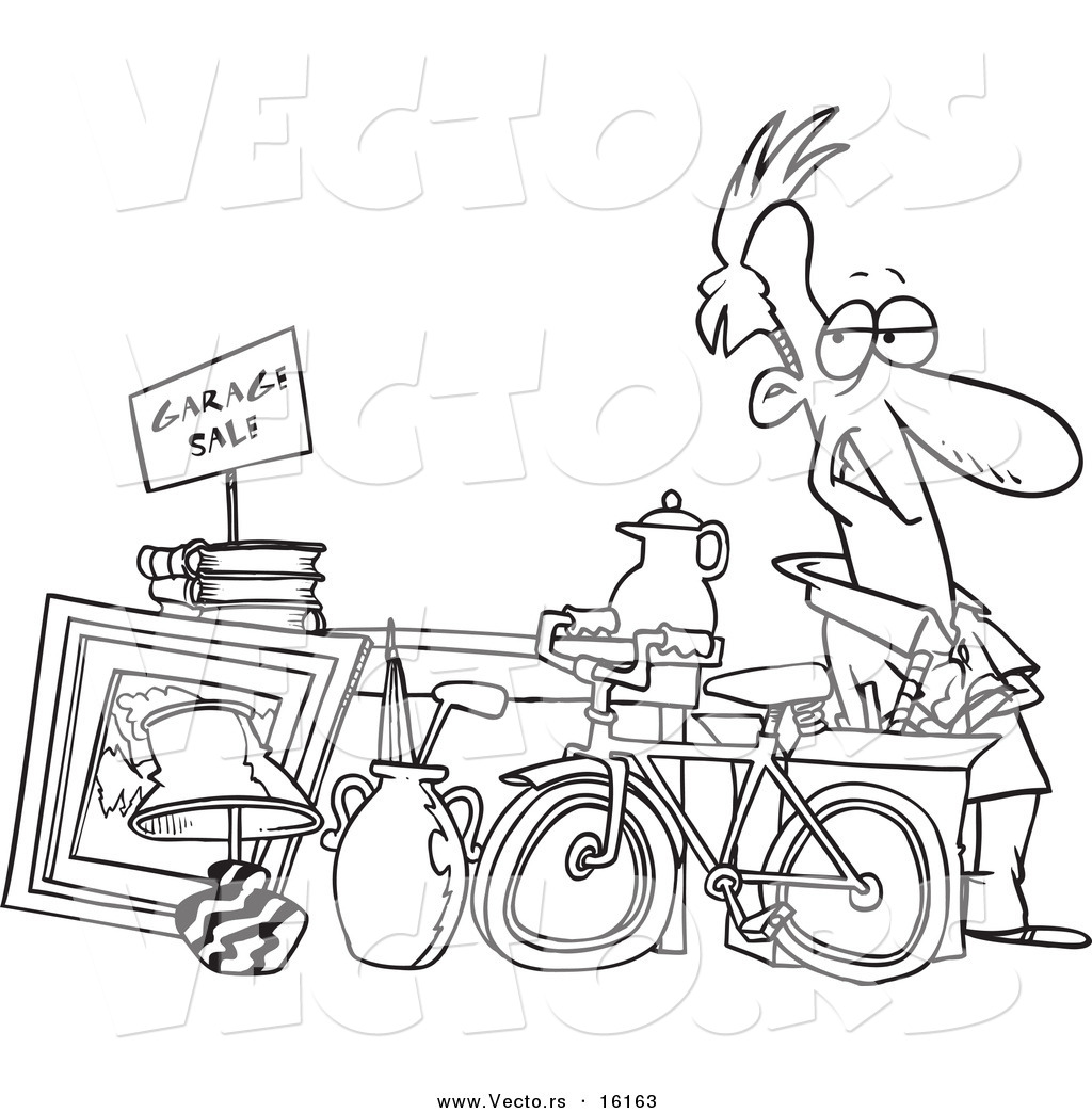 Vector Of A Cartoon Man Selling His Stuff At A Yard Sale