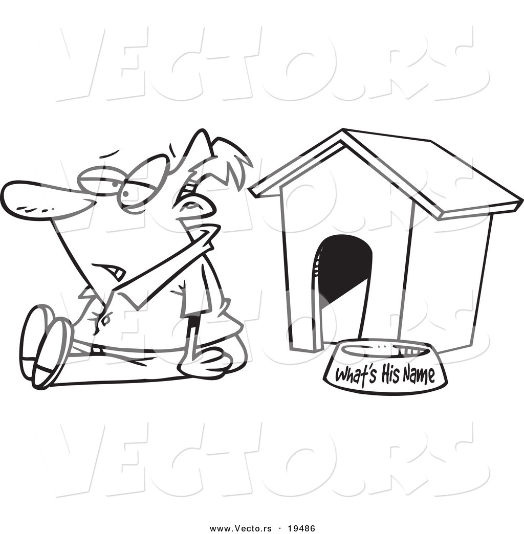 Vector Of A Cartoon Man Sitting By A Dog House