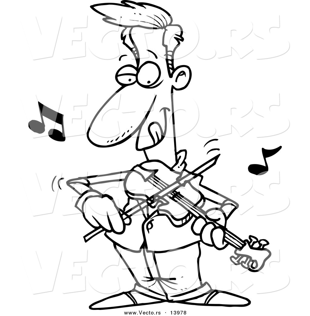 Vector Of A Cartoon Man Standing And Playing A Violin