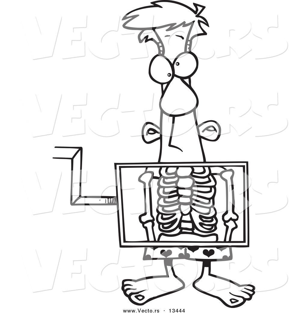 Vector Of A Cartoon Man Standing Behind An Xray Machine